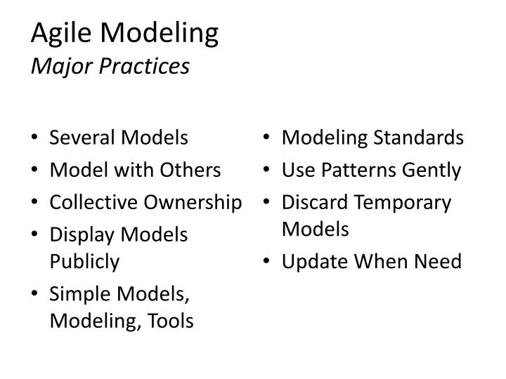 Agile modeling major practices