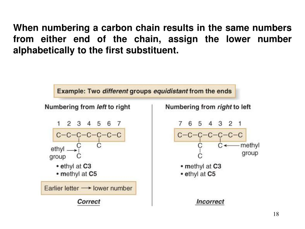 When numbering a carbon chain results in the same numbers from either end of the chain, assign the lower number alphabetically to the first substituent.