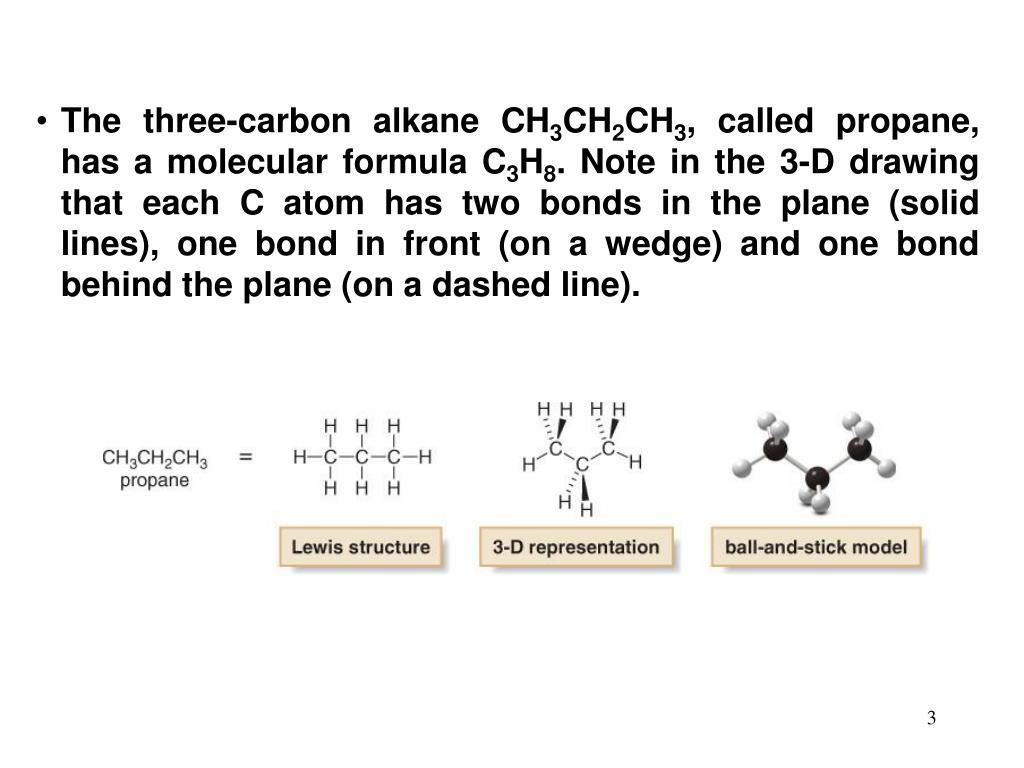 The three-carbon alkane CH