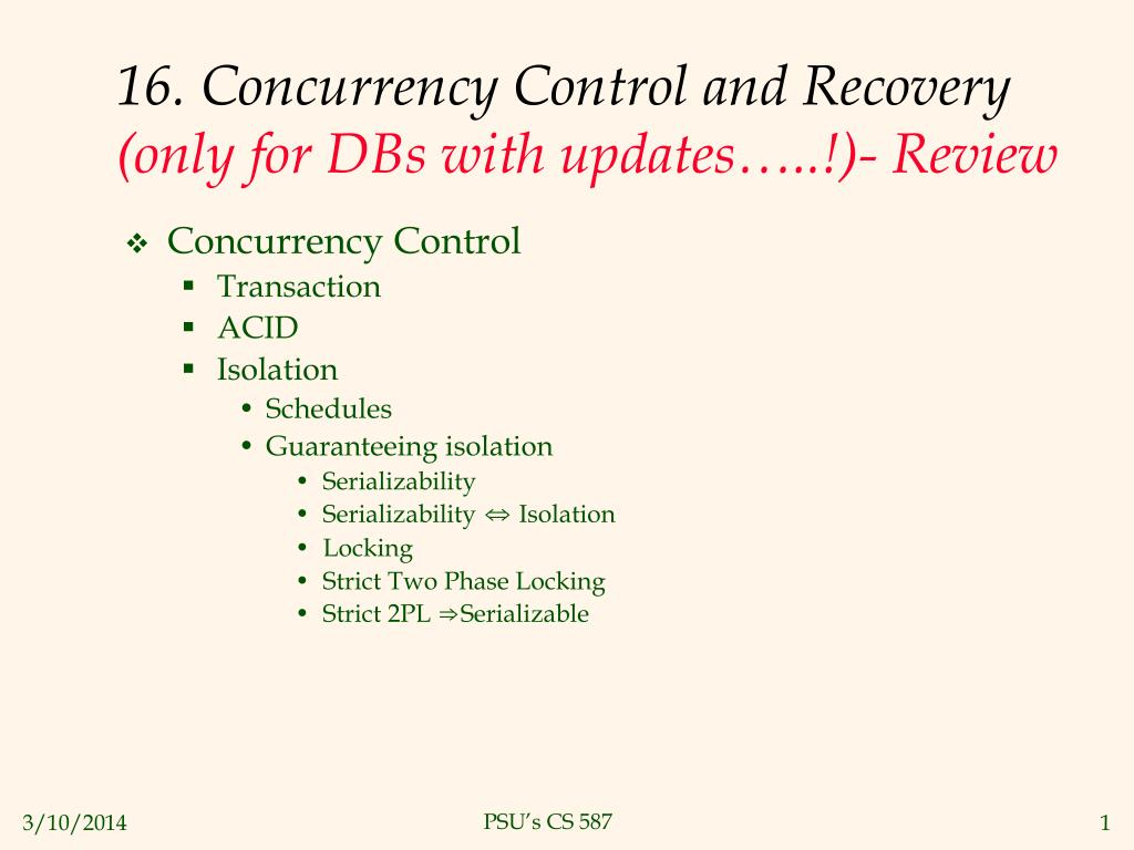 16. Concurrency Control and Recovery