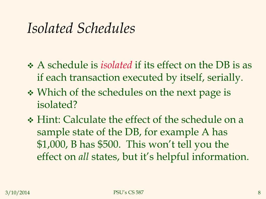 Isolated Schedules