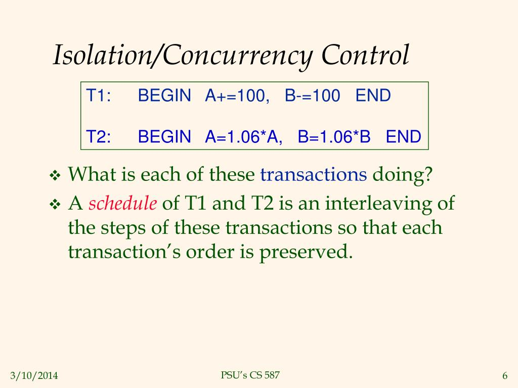 Isolation/Concurrency Control