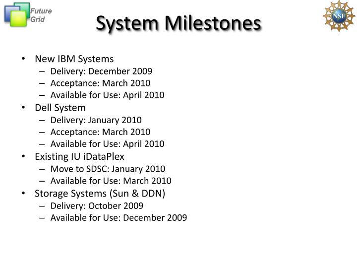 System Milestones