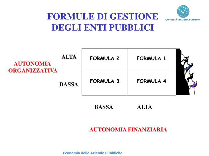 FORMULE DI GESTIONE
