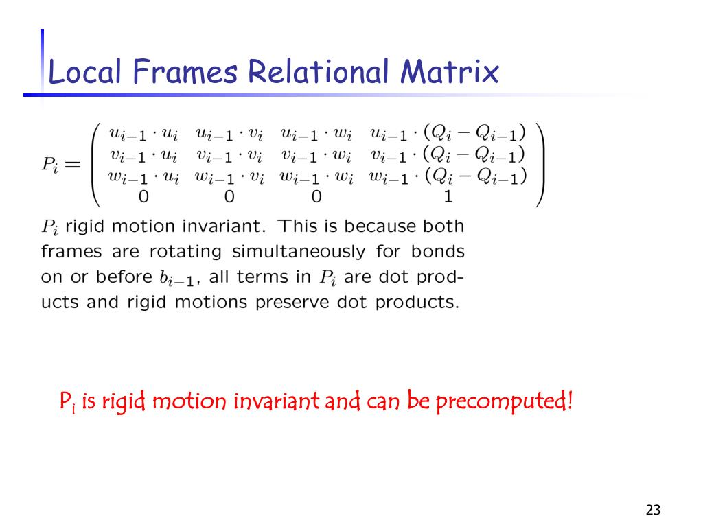 Local Frames Relational Matrix
