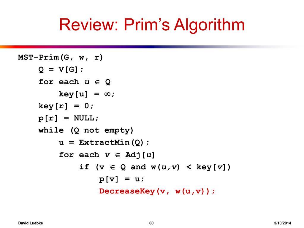 Review: Prim's Algorithm