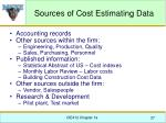 sources of cost estimating data