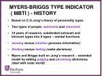 myers briggs type indicator mbti history