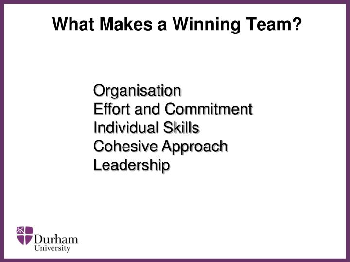 What Makes a Winning Team?
