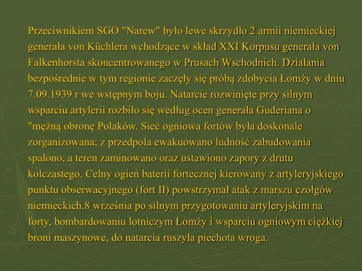 """Przeciwnikiem SGO """"Narew"""" było lewe skrzydło 2 armii niemieckiej"""