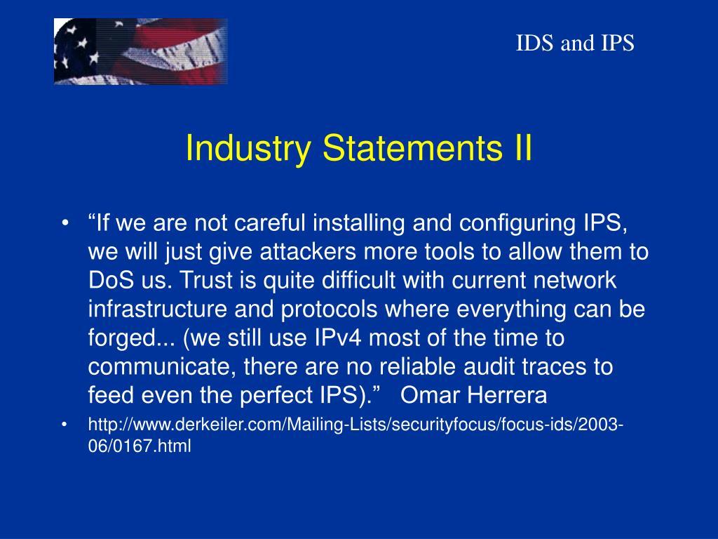 Industry Statements II