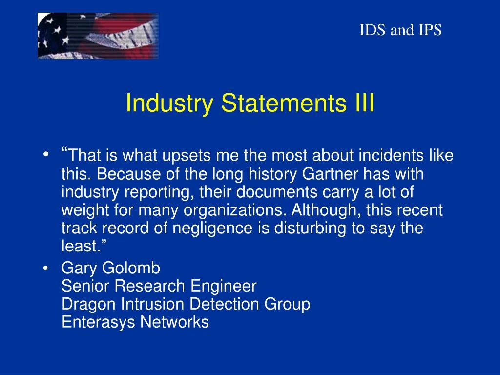 Industry Statements III
