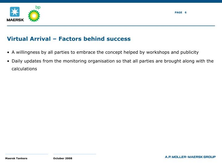 Virtual Arrival – Factors behind success