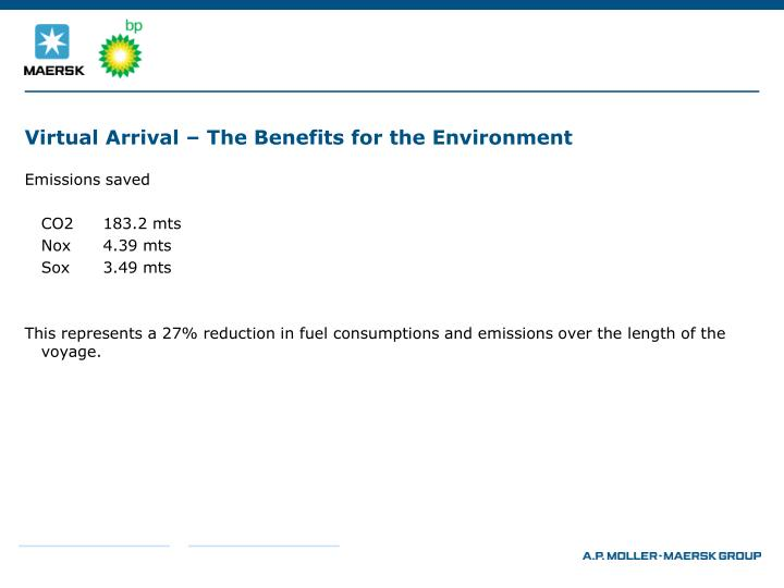 Virtual Arrival – The Benefits for the Environment