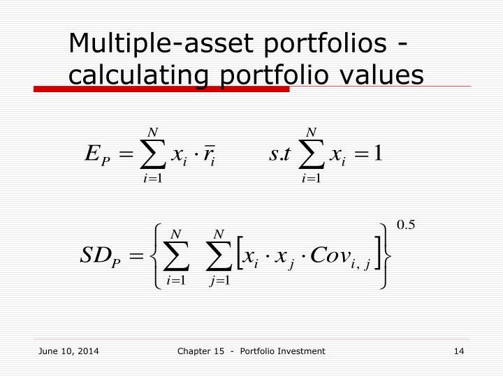 Multiple-asset portfolios - calculating portfolio values
