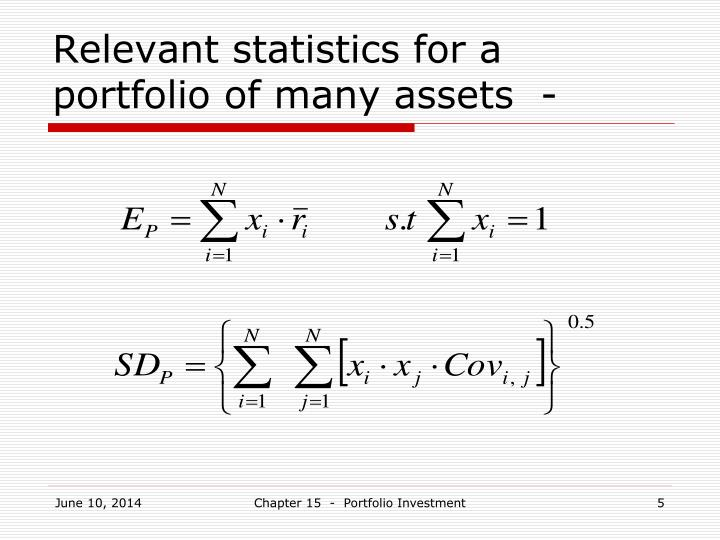 Relevant statistics for a portfolio of many assets  -