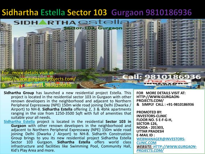 Sidhartha estella sector 103 gurgaon 9810186936