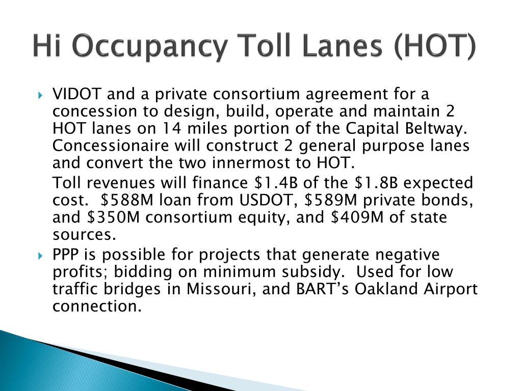 Hi Occupancy Toll Lanes (HOT)