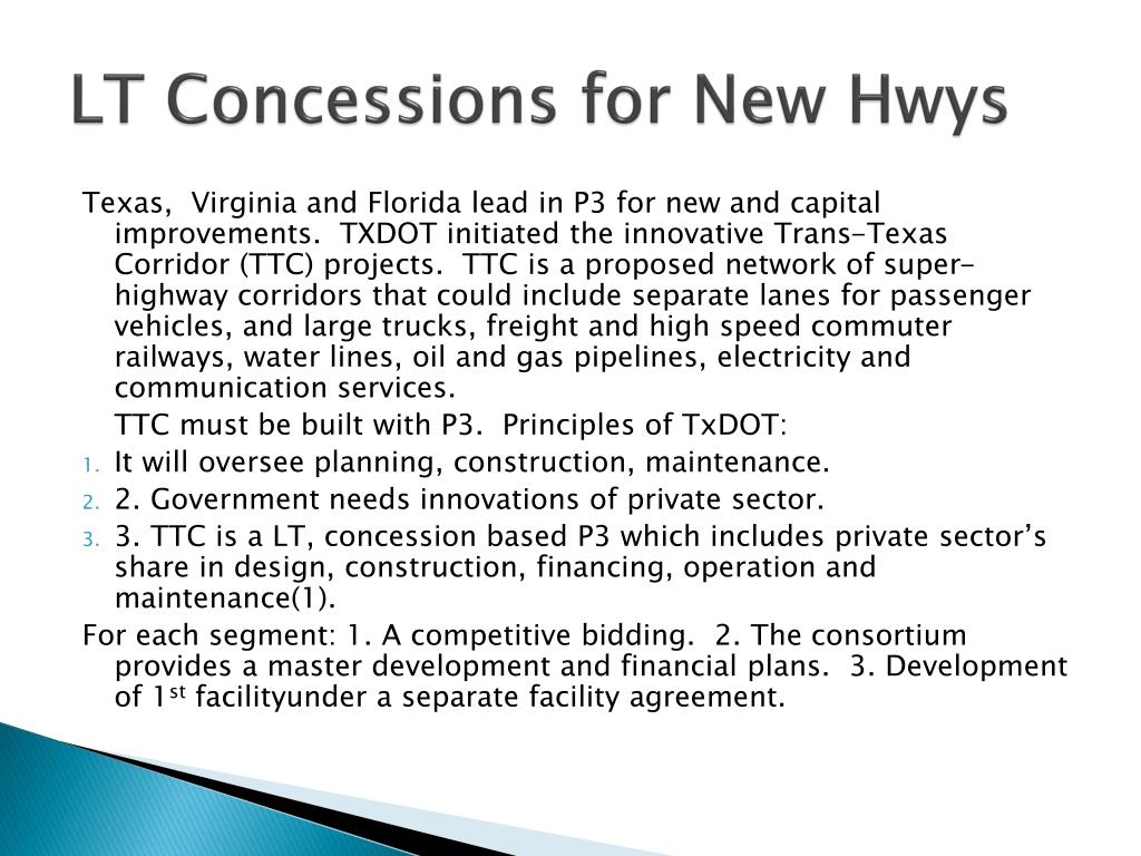 LT Concessions for New Hwys