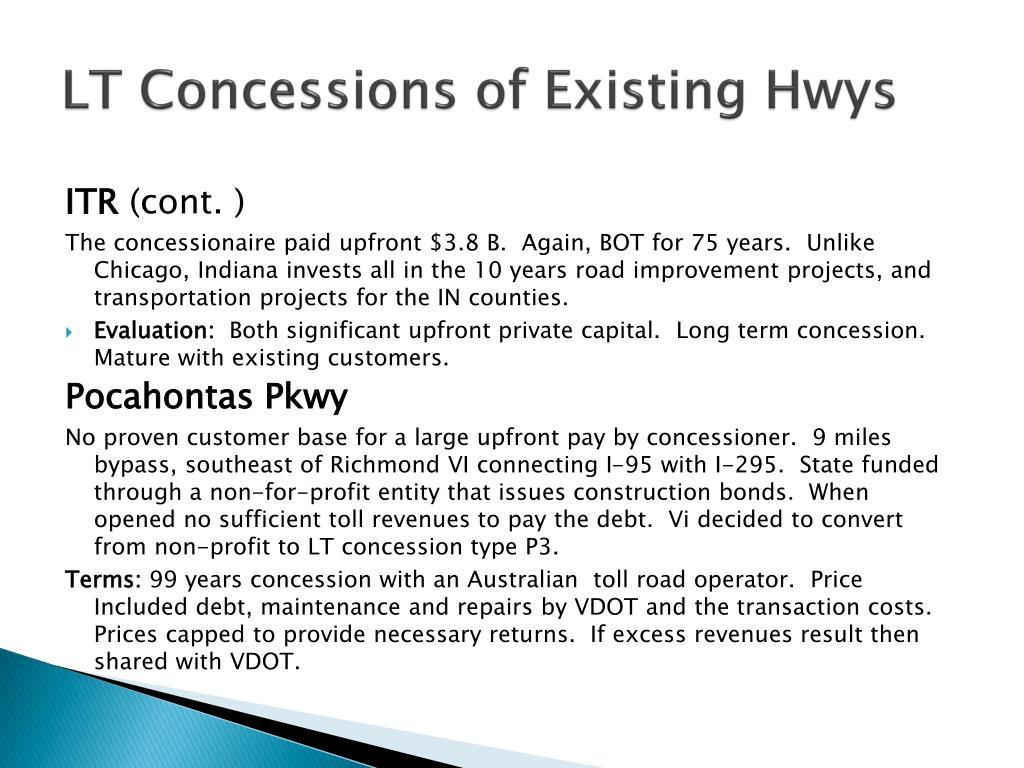 LT Concessions of Existing Hwys