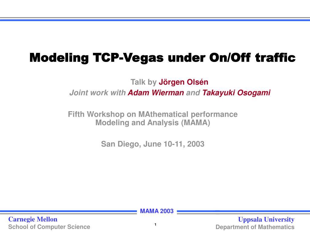 Modeling TCP-Vegas under On/Off traffic