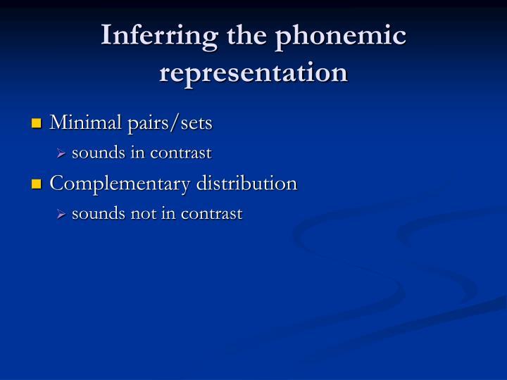 Inferring the phonemic representation