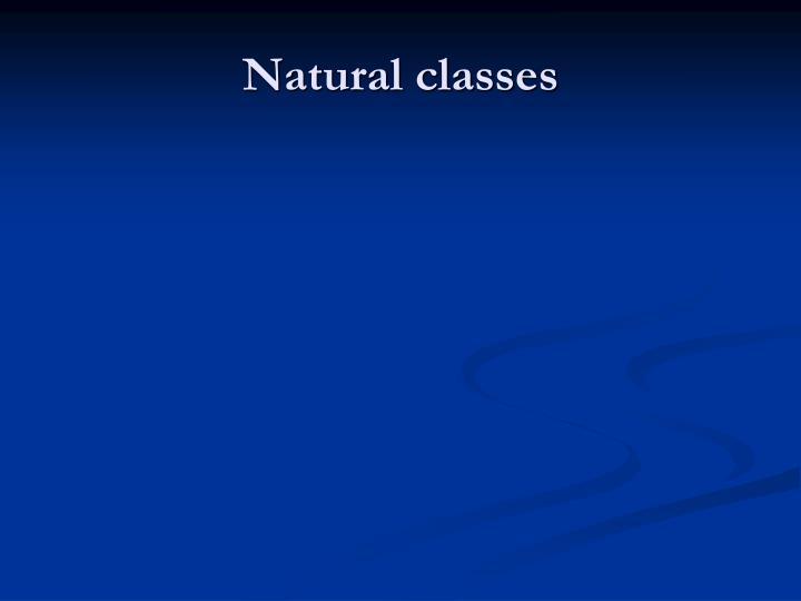 Natural classes