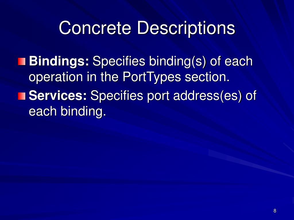 Concrete Descriptions