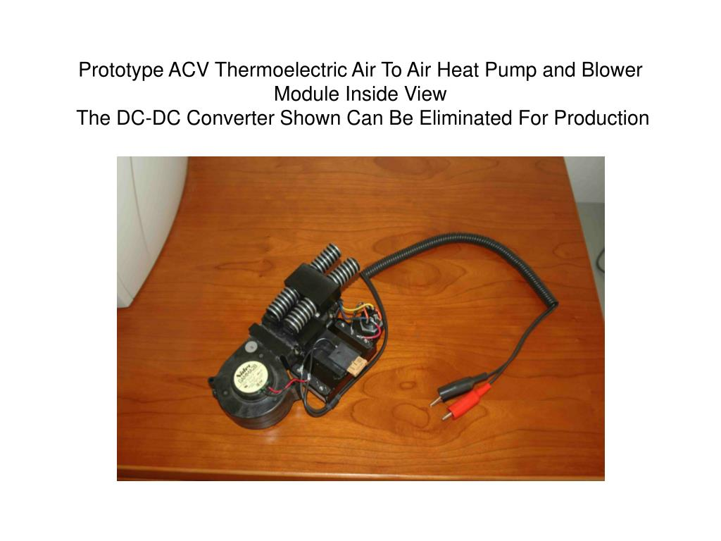 Prototype ACV Thermoelectric Air To Air Heat Pump and Blower Module Inside View