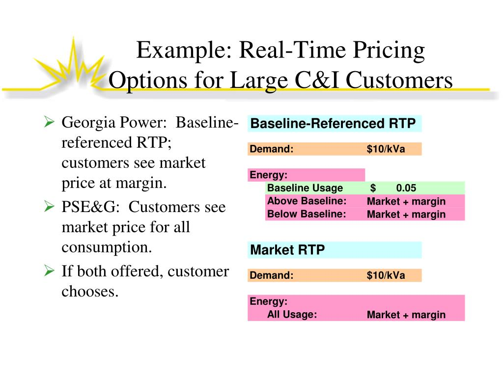Example: Real-Time Pricing Options for Large C&I Customers