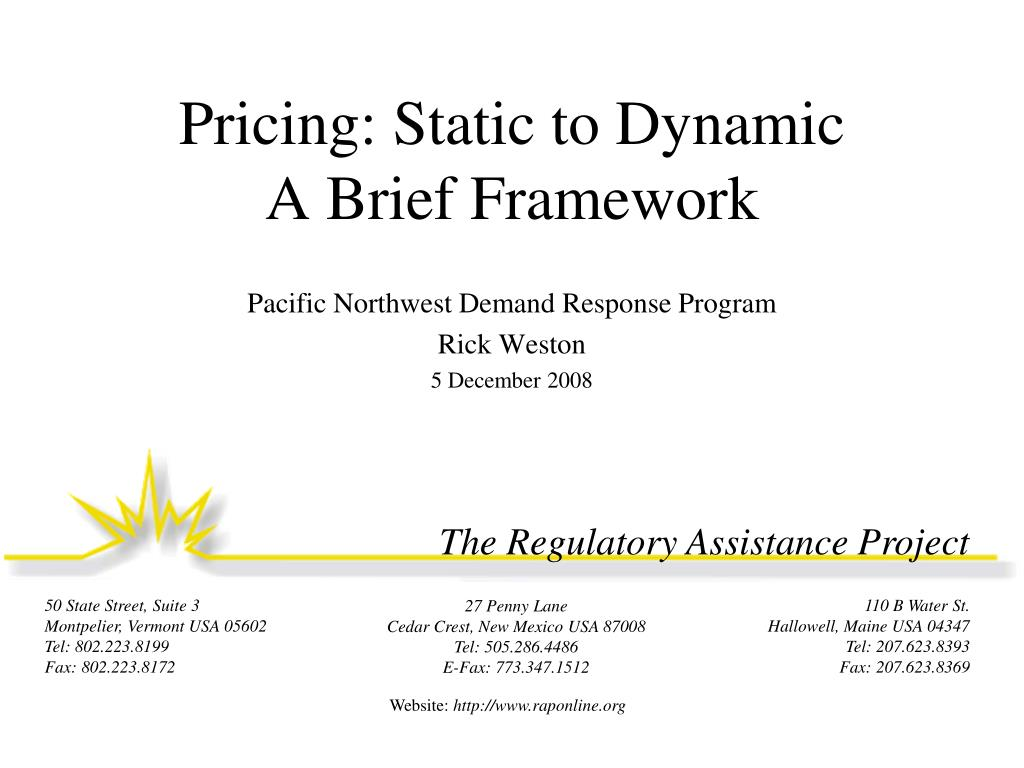 Pricing: Static to Dynamic
