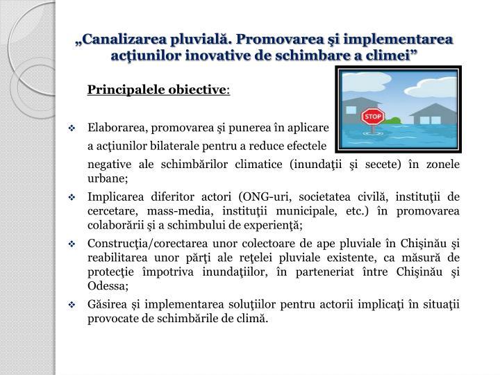 Canalizarea pluvial. Promovarea i implementarea aciunilor inovative de schimbare a climei