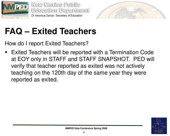 FAQ – Exited Teachers