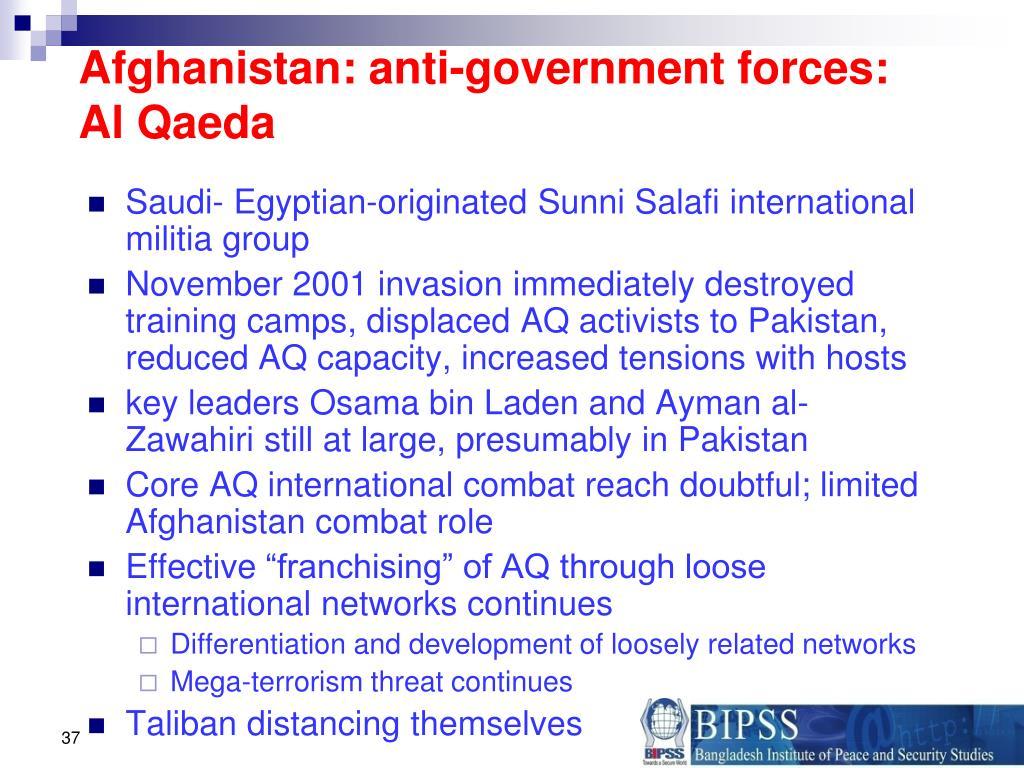 Afghanistan: anti-government forces: Al Qaeda