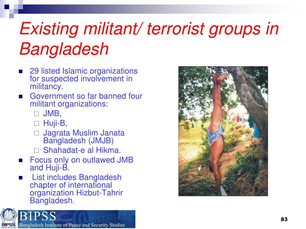 Existing militant/ terrorist groups in Bangladesh