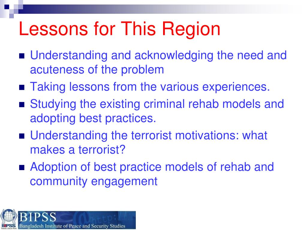 Lessons for This Region
