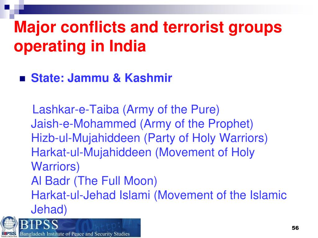 Major conflicts and terrorist groups