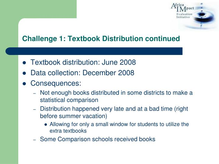 Challenge 1: Textbook Distribution continued