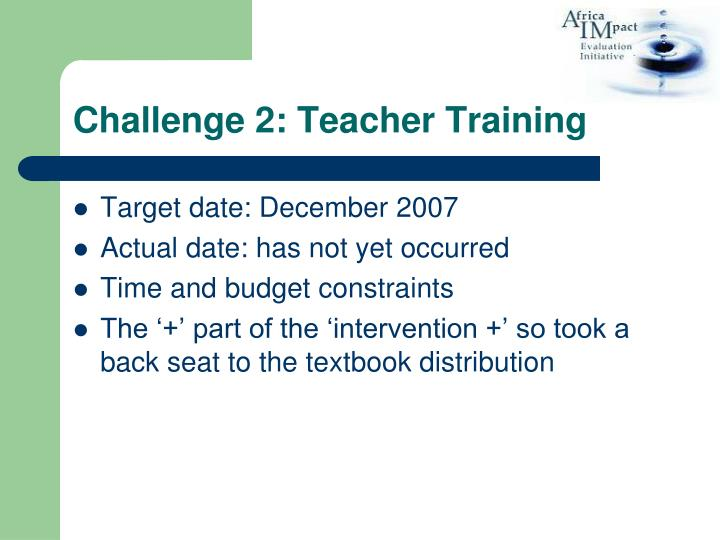Challenge 2: Teacher Training