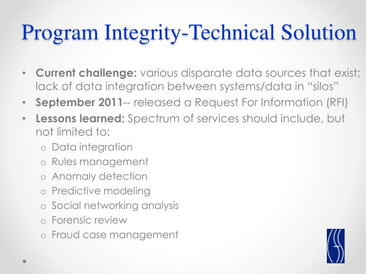 Program Integrity-Technical Solution