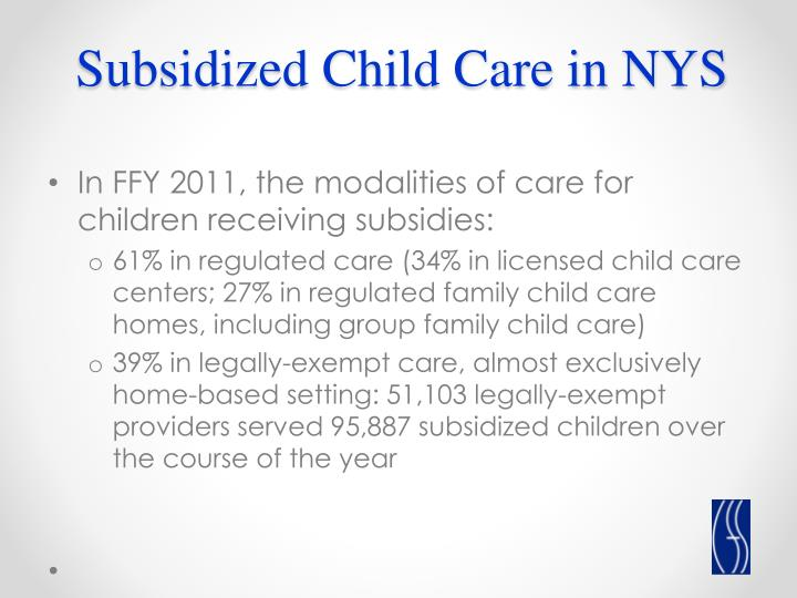 Subsidized Child Care in NYS