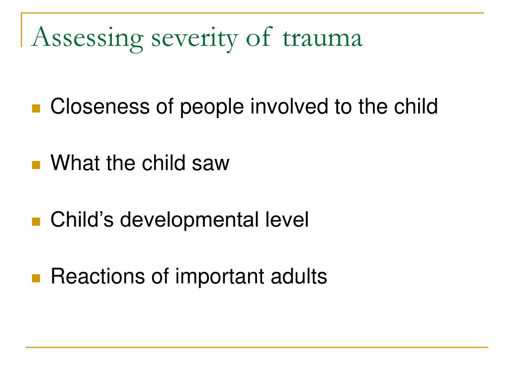 Assessing severity of trauma