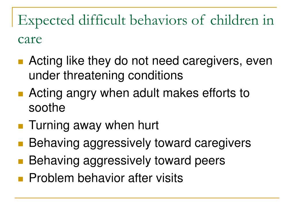 Expected difficult behaviors of children in care