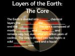 layers of the earth the core