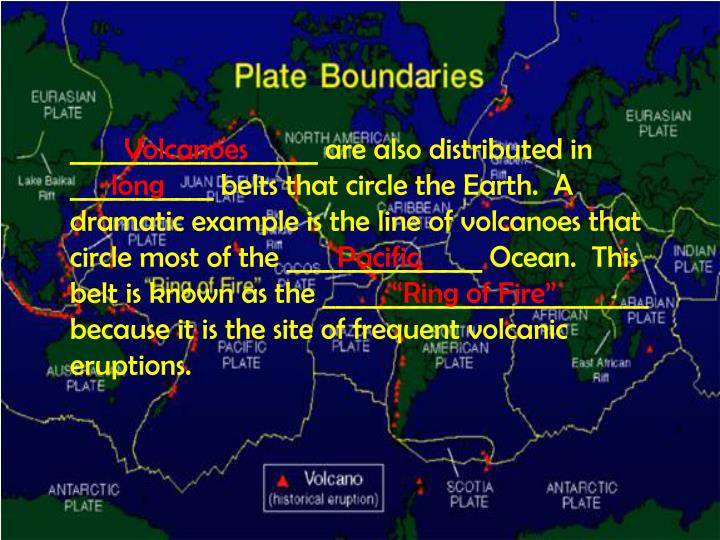 ___________________ are also distributed in ___________ belts that circle the Earth.  A dramatic example is the line of volcanoes that circle most of the _______________ Ocean.  This belt is known as the _________________________ because it is the site of frequent volcanic eruptions.