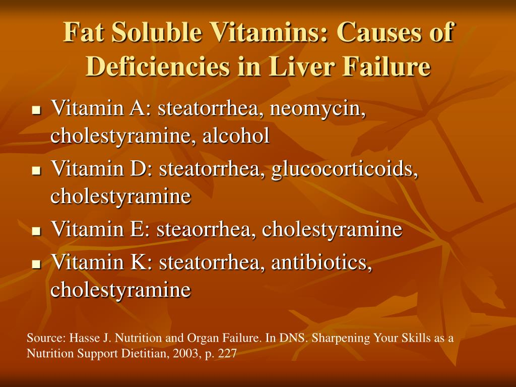 Fat Soluble Vitamins: Causes of Deficiencies in Liver Failure