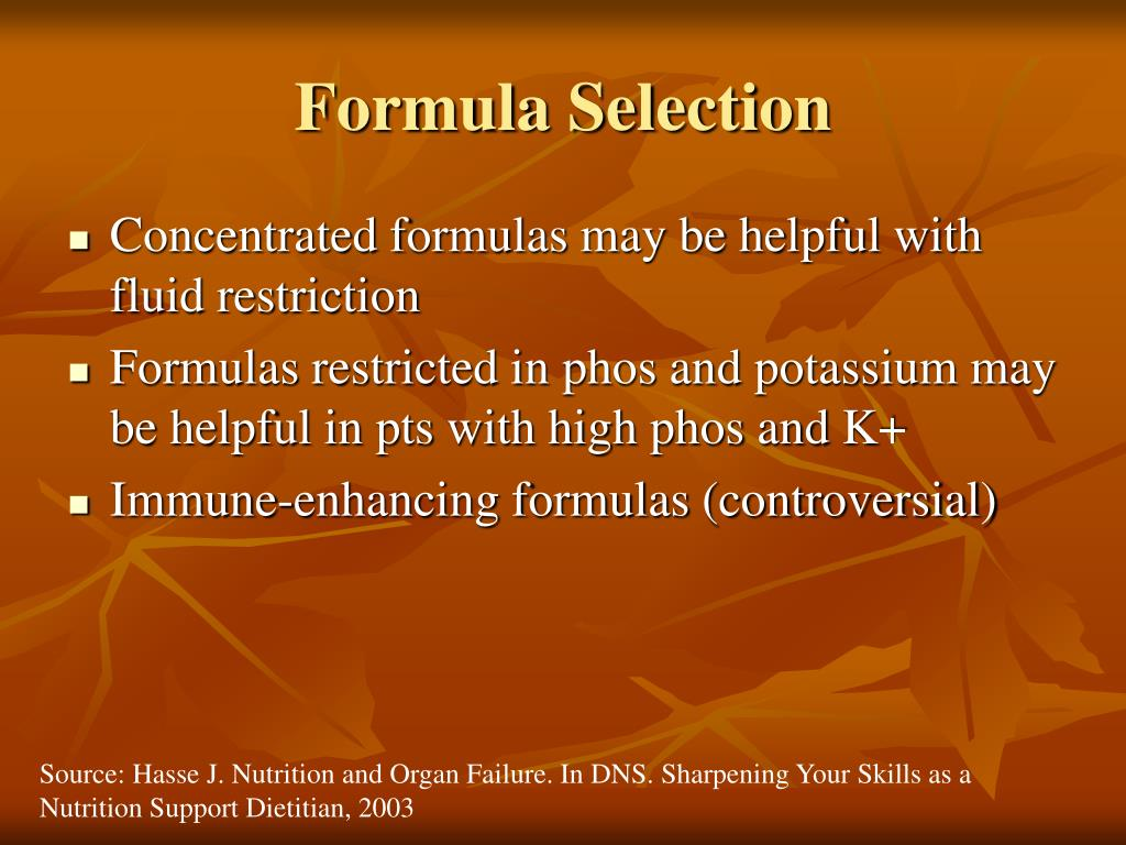Formula Selection