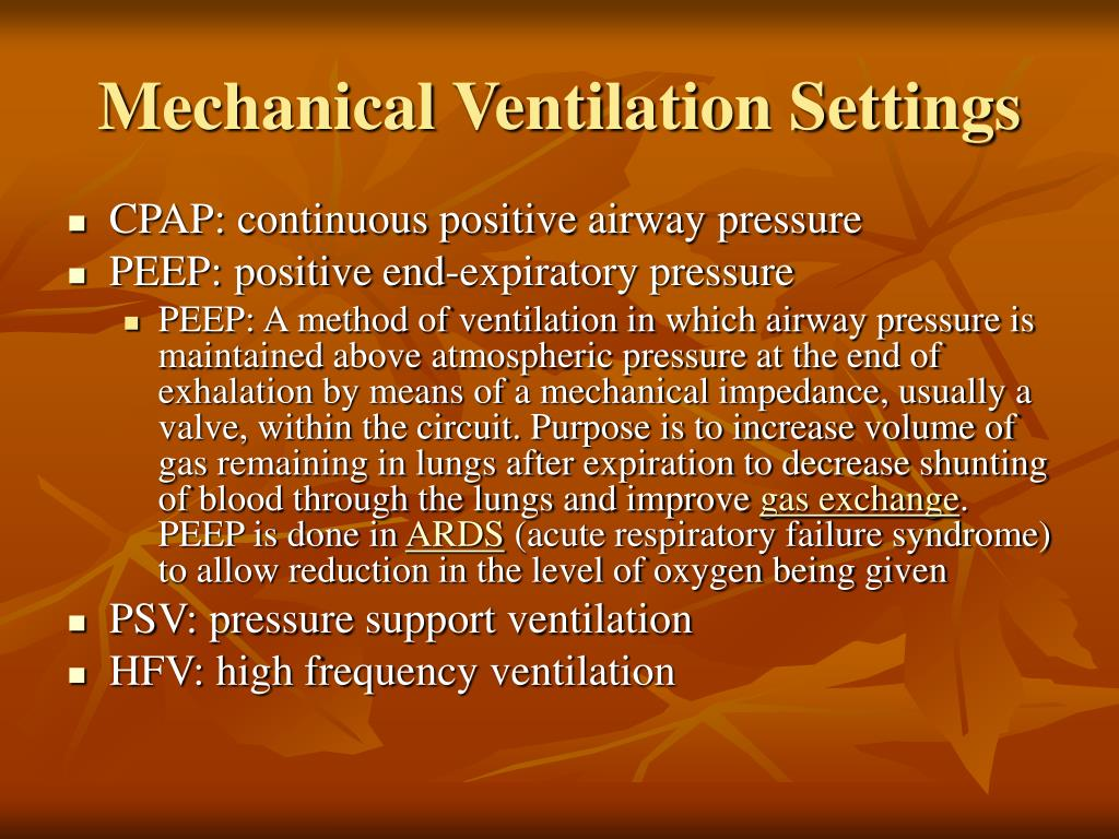 Mechanical Ventilation Settings