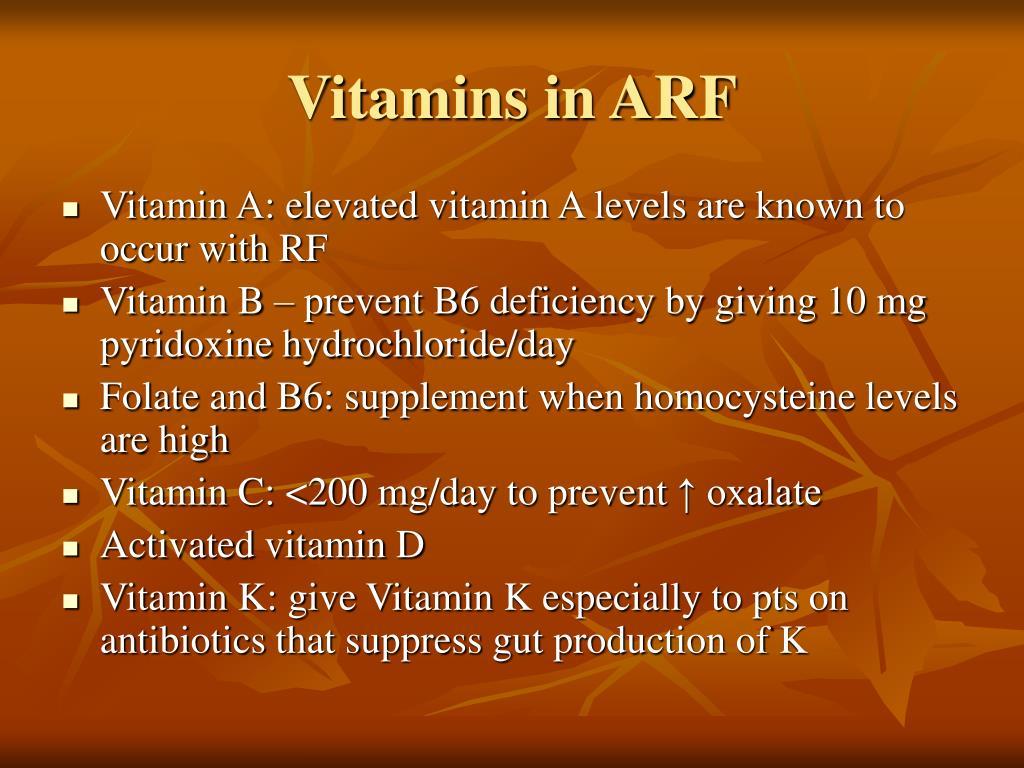 Vitamins in ARF
