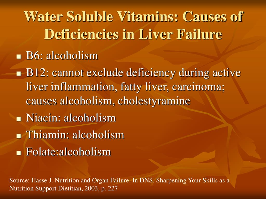 Water Soluble Vitamins: Causes of Deficiencies in Liver Failure
